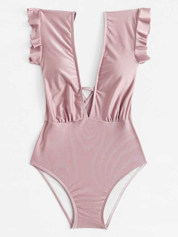 c377d5b5e5 Plunging Ruffle One Piece Swimsuit | SHEIN