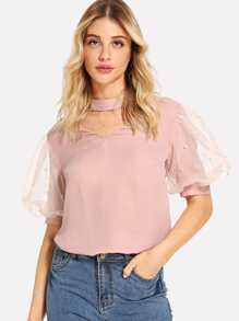 Cut V Neck Contrast Mesh Pearl Beaded Top