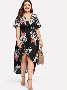 Plus Surplice Neck Floral Dip Hem Dress