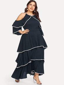 Plus Cold Shoulder Layered Dress