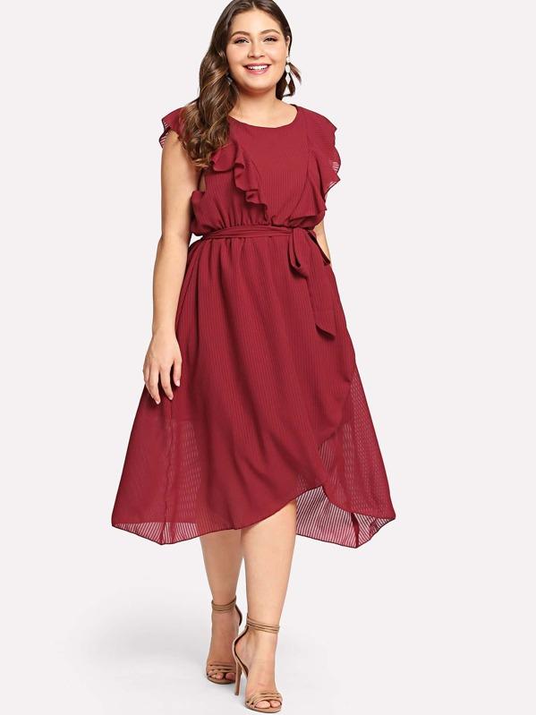40add22421 Plus Flounce Trim Asymmetrical Wrap Hem Belted Dress | SHEIN
