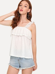 Eyelet Embroidered Ruffle Trim Cami Top