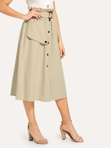 Button Front Longline Skirt With Belt
