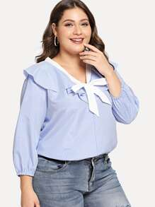 Plus Contrast Trim Tie Neck Ruffle Blouse