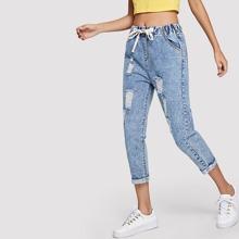 Drawstring Waist Distressed Jeans
