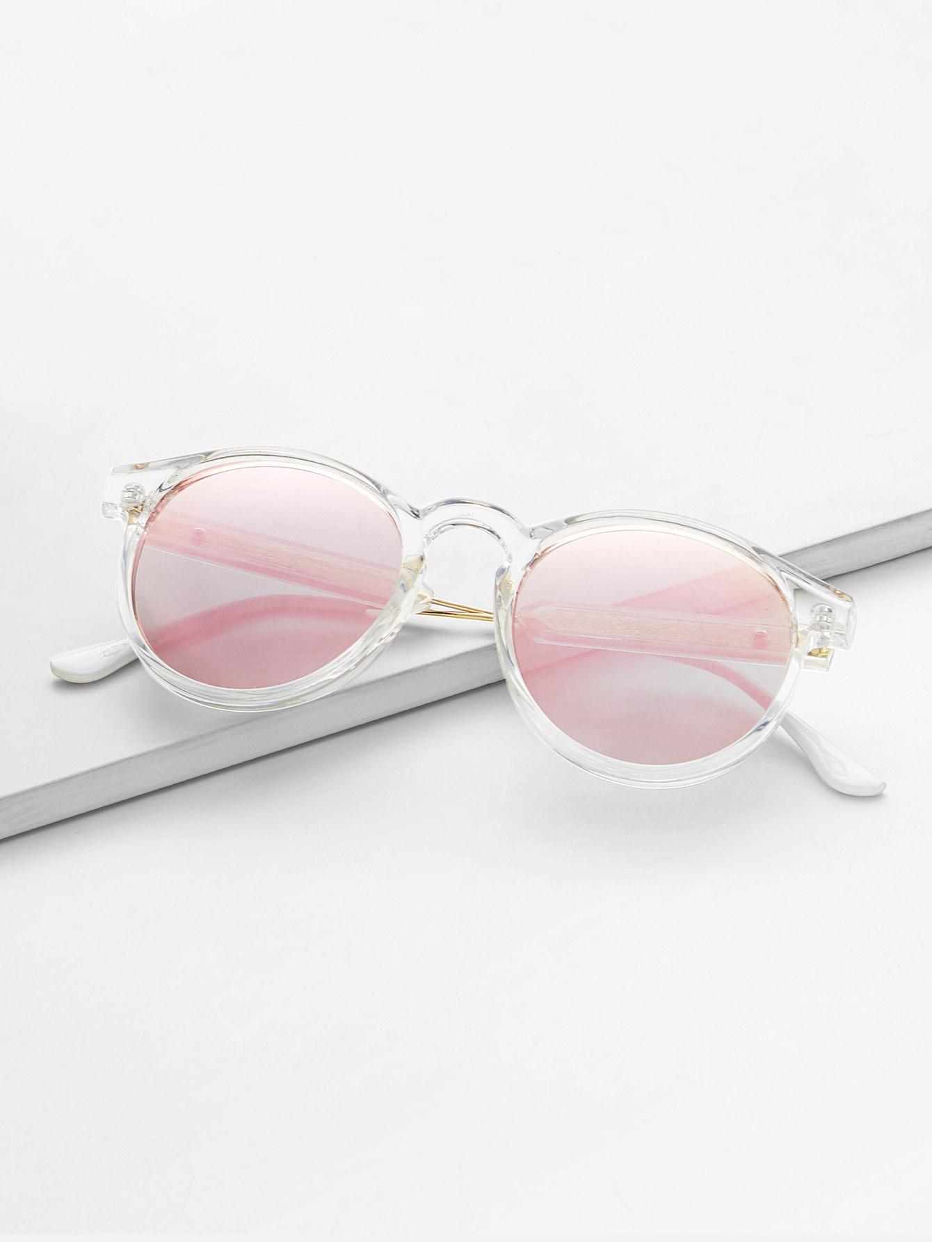 Sonnenbrille mit transparentem Rahmen und Spiegel Linse- German romwe