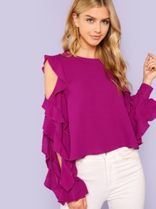 Ruffle Open Sleeve Blouse