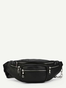 Zipper Front PU Bum Bag