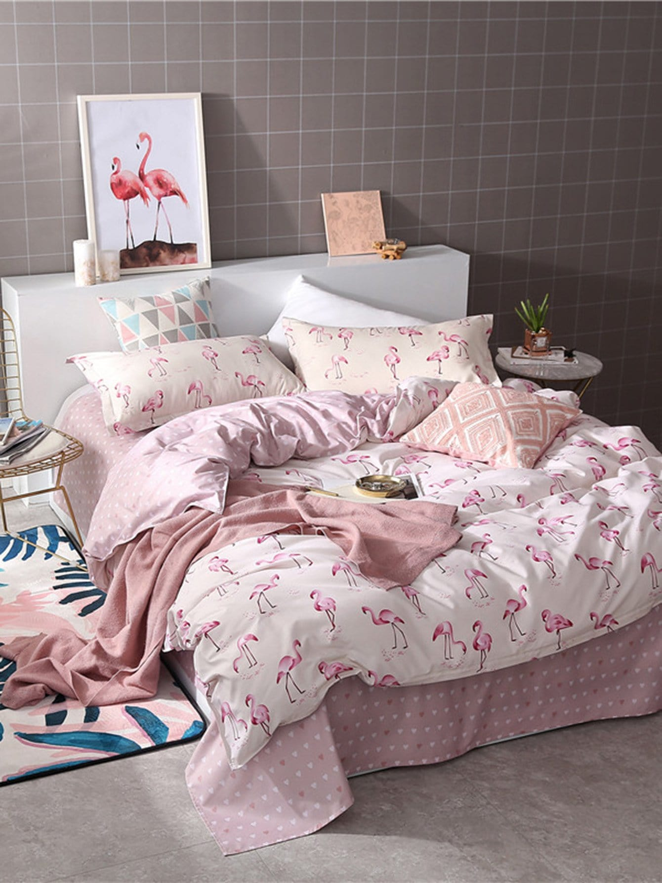 Flamingos & Heart Print Sheet Set