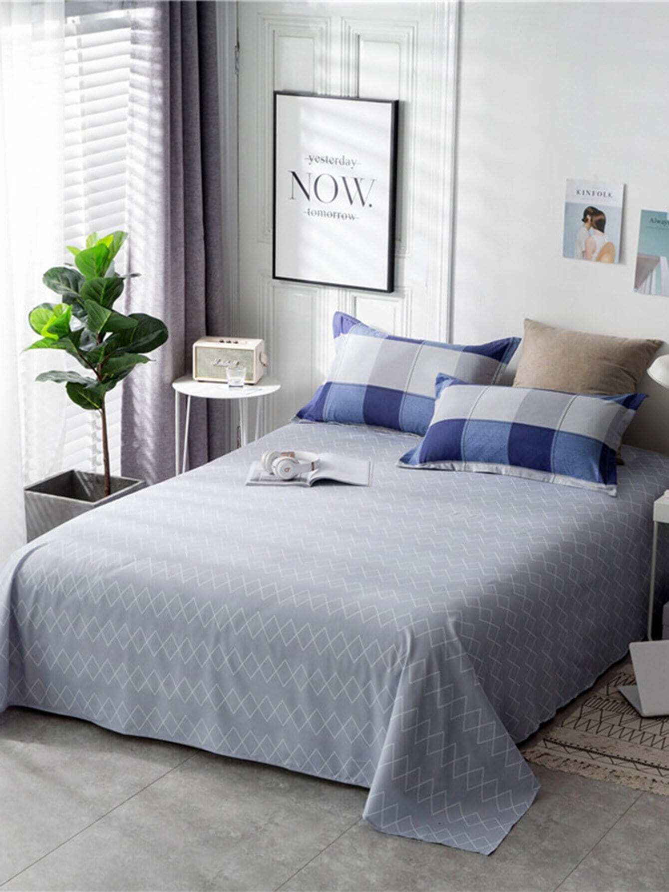 ensemble de draps imprim losange carreaux french shein sheinside. Black Bedroom Furniture Sets. Home Design Ideas