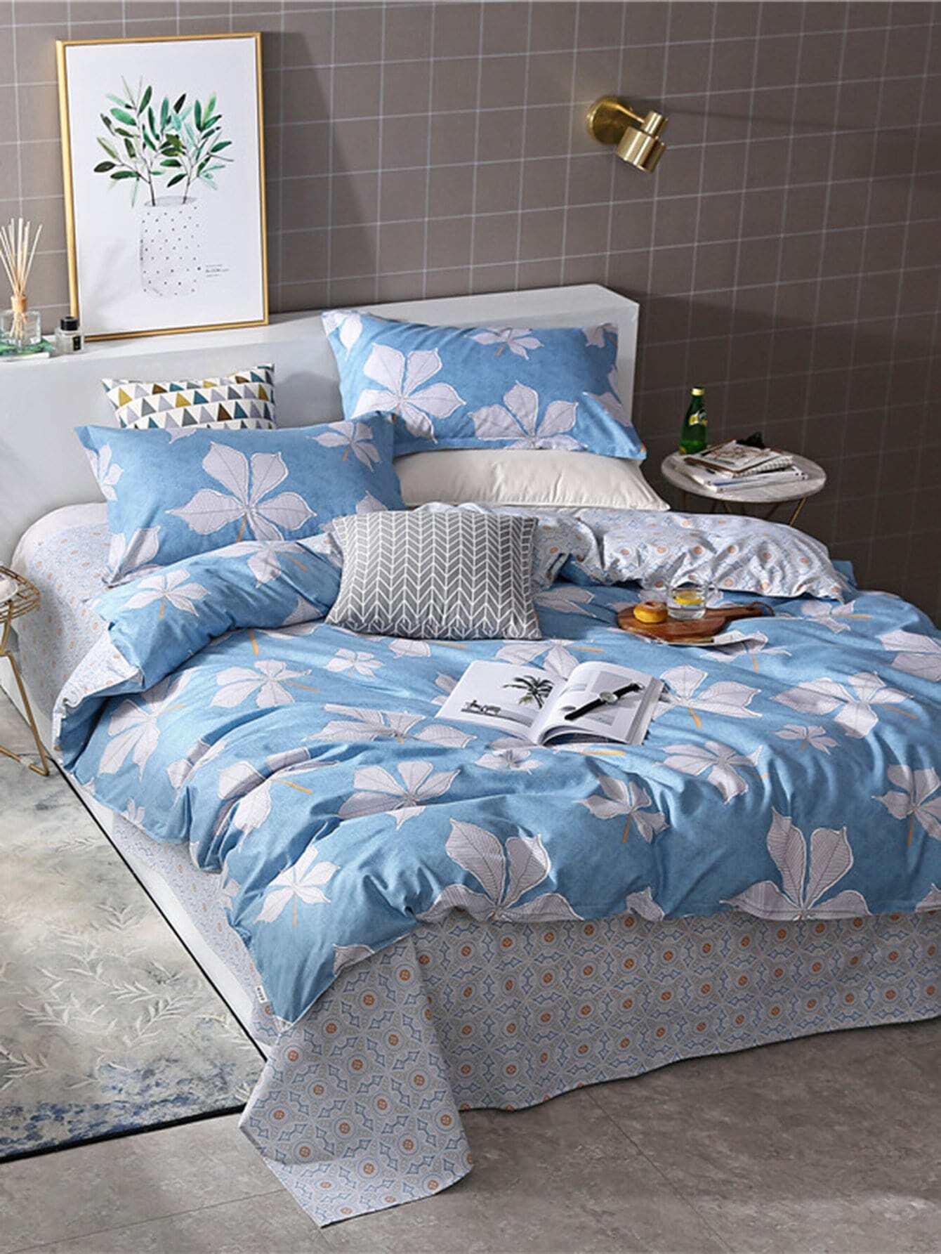 ensemble de draps imprim fleur french shein sheinside. Black Bedroom Furniture Sets. Home Design Ideas