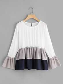 Flounce Sleeve Colorblock Smock Top