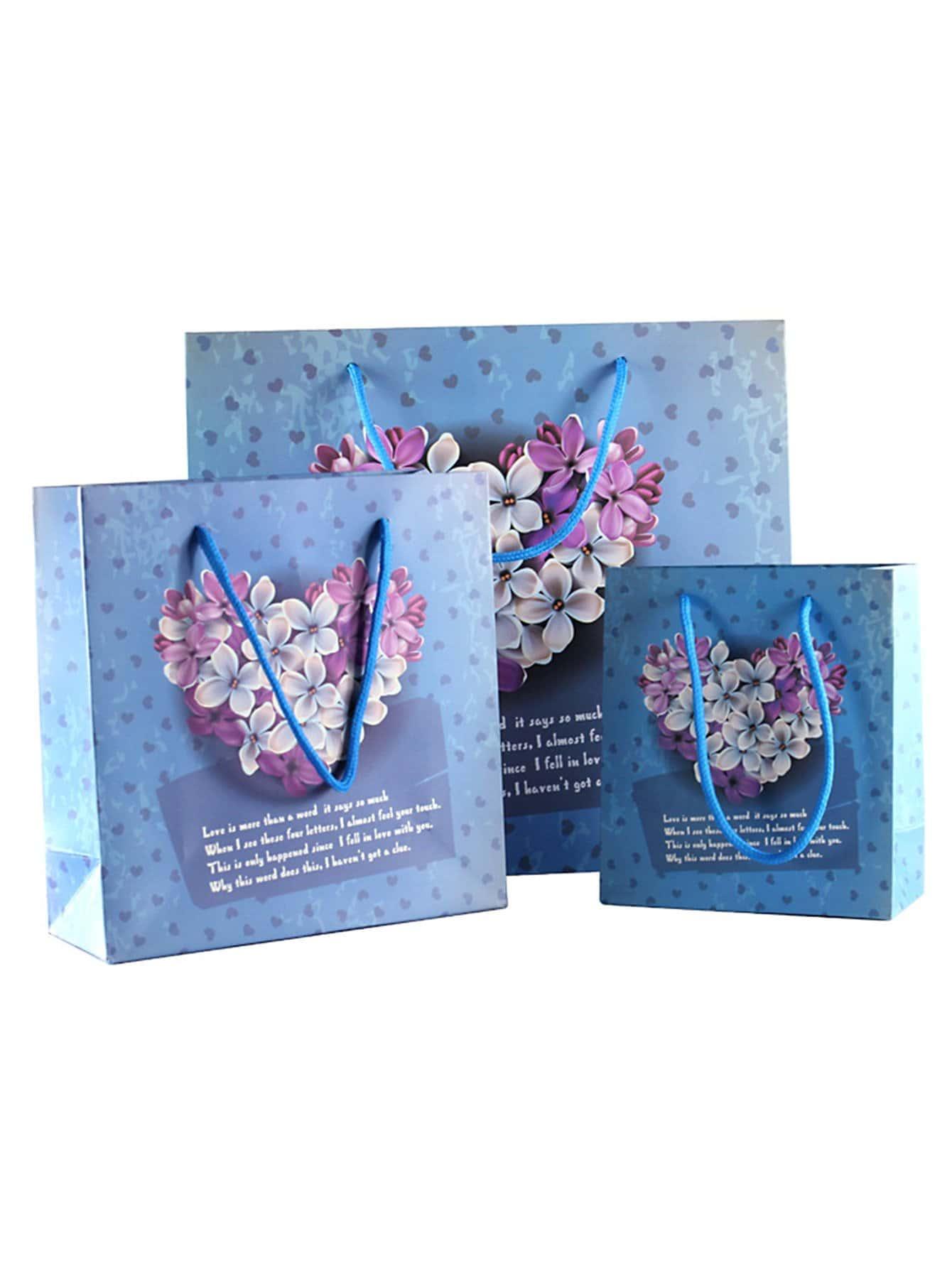 Flower Printed Paper Bag 3pcsfor Women Romwe