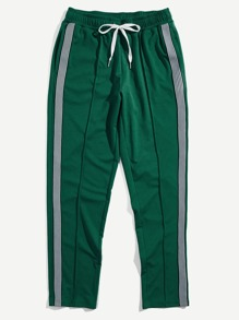 Men Striped Tape Side Drawstring Sweatpants