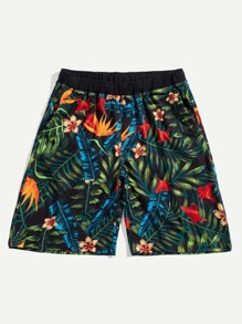 Men Drawstring Waist Tropical Bermuda Shorts