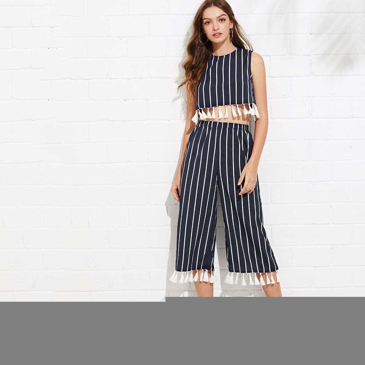 - Tassel Trim Striped Shell Top & Culotte Pants Set