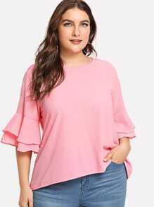 Plus Layered Flounce Sleeve Solid Top