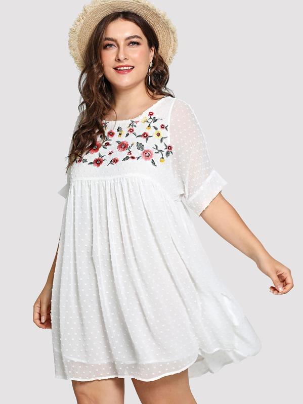 Plus Flower Embroidered Dot Jacquard Smock Dress