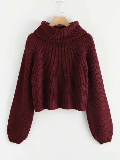 1c71c828ea6d5 Roll Neck Raglan Sleeve Marled Knit Sweater | SHEIN
