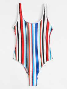 Low Back Striped Swimsuit