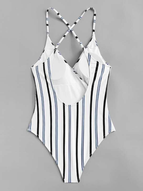 b752fba45d2 Plus Striped Criss Cross Tie Side One Piece Swimsuit | SHEIN
