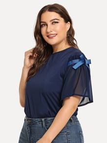 Plus Ribbon Tie Detail Chiffon Blouse