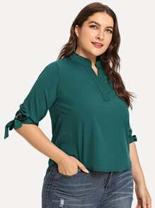 Plus Tie Cuff High Low Blouse