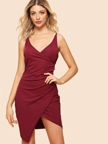 Solid Wrap Cami Dress