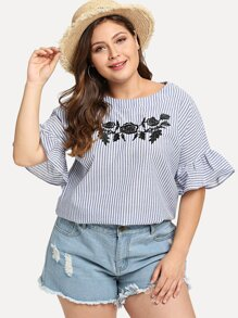Plus Flounce Sleeve Embroidery Blouse