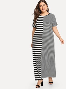 Plus Contrast Stripe Maxi Dress