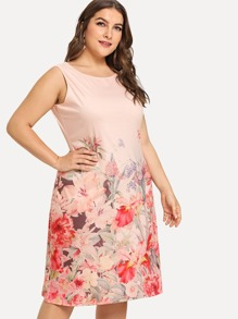 Plus Flower Print Dress