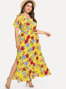 Plus Random Florals Ruffle Trim Slit Hem Dress