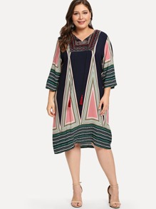 Plus Geo Embroidered Tassel Tie Tunic Dress