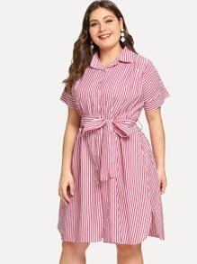 Plus Vertical-Striped Slit Side Shirt Dress