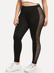 Plus Mesh Panel Gym Leggings