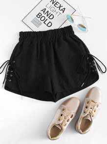 Plus Lace-Up Side Shorts