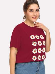 Plus Daisy Print T-shirt