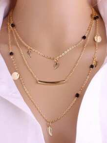Bar & Leaf Decorated Layered Chain Necklace