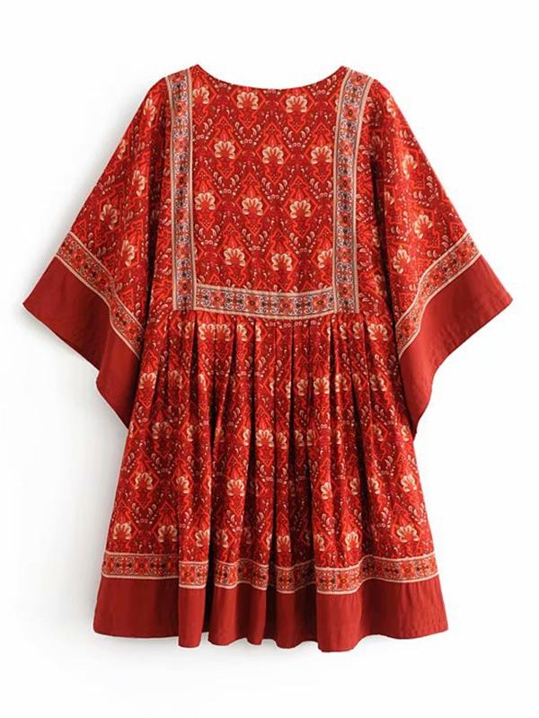 cd53051ac6 Ornate Print Kimono Smock Dress | SHEIN IN