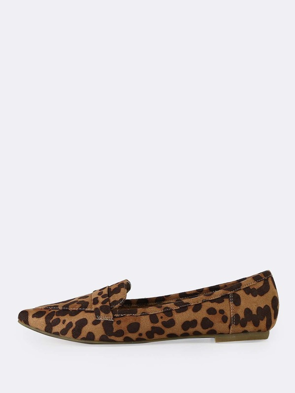cb809c73804 Leopard Vegan Suede Pointed Toe Flat Loafers