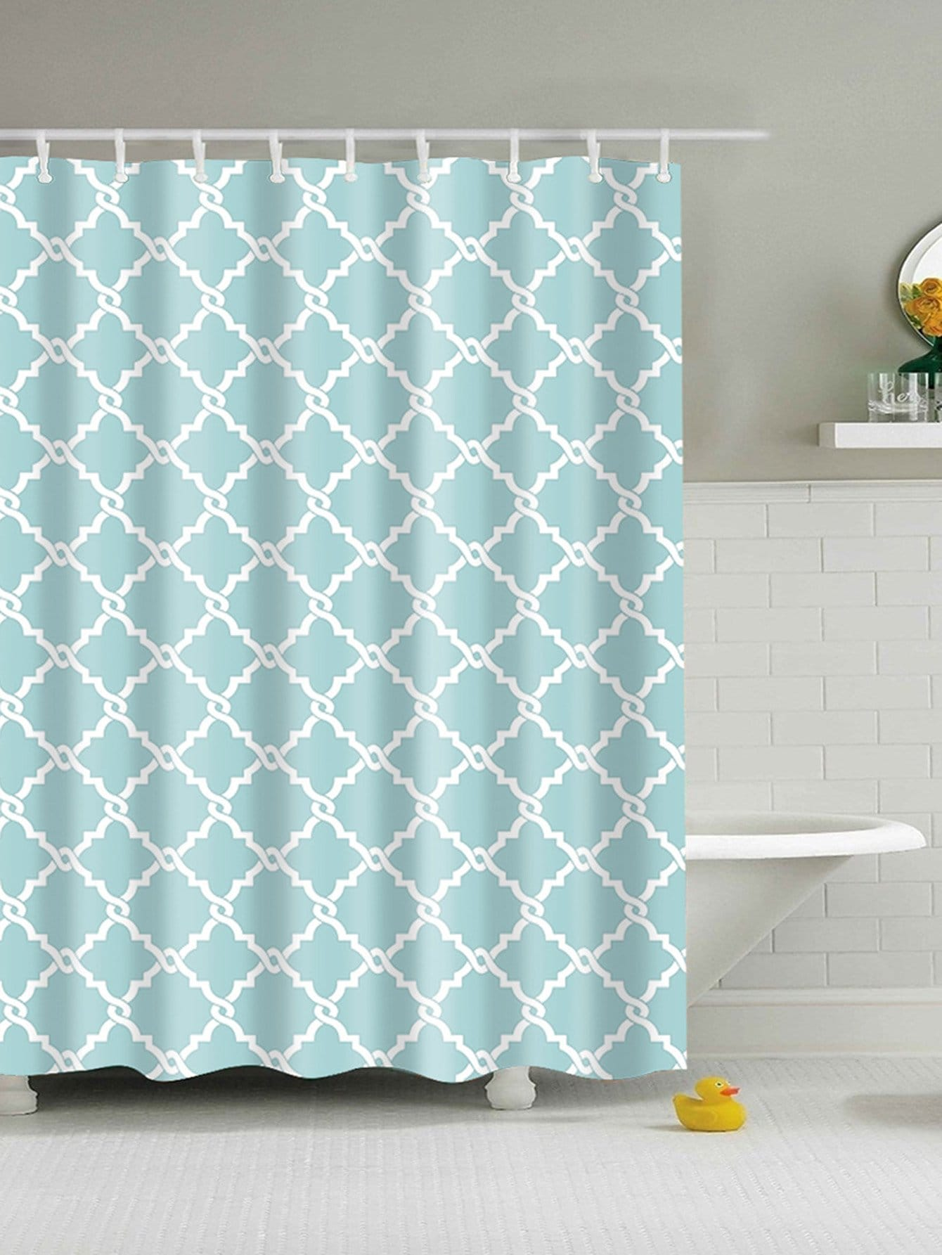 Geometric Shower Curtain With 12Pcs Hook