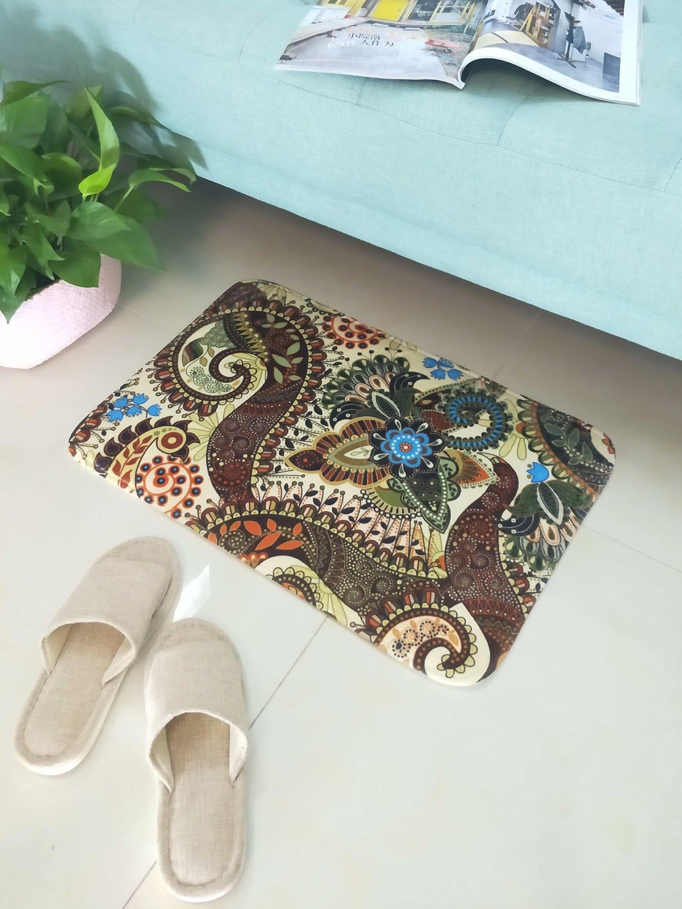 Paisley Print Floor Mat