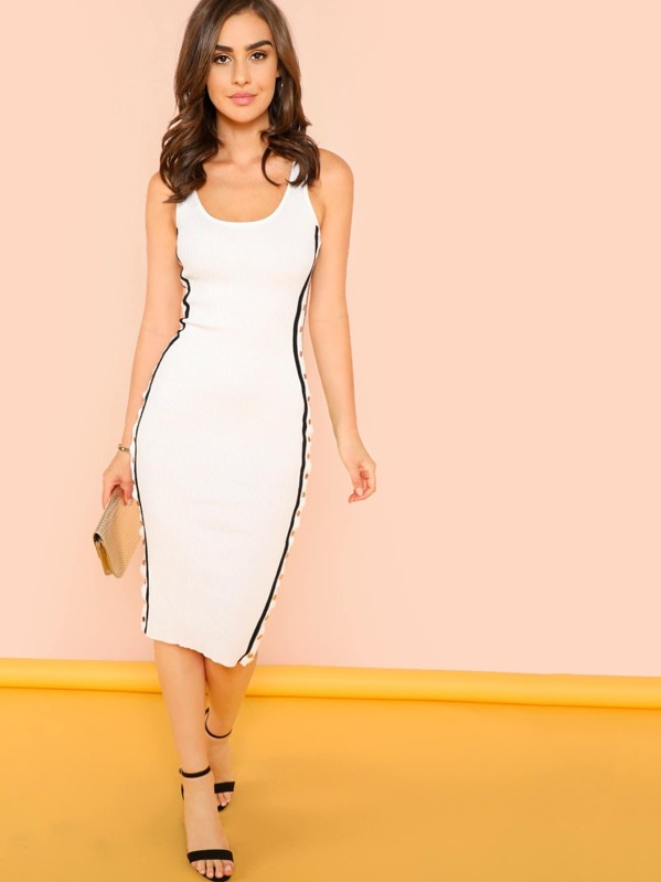 3a34152baa3 Ribbed Knit Tank Dress with Button Side Slits