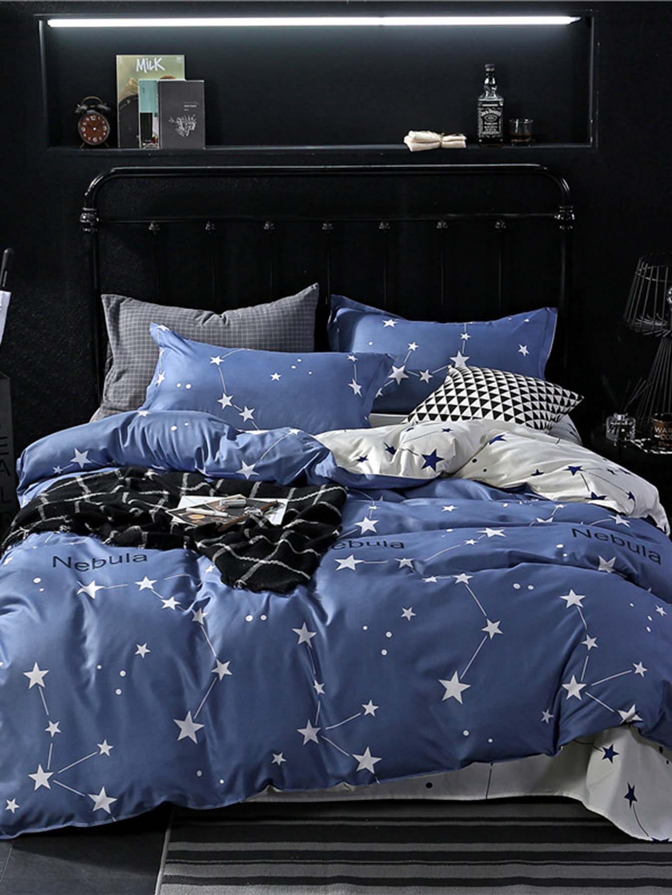 housse de couette imprim e lettre et toile french romwe. Black Bedroom Furniture Sets. Home Design Ideas