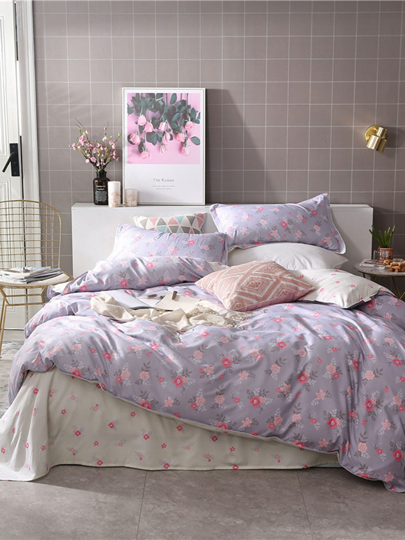 Allover Flower Print Duvet Cover