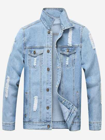 Guys Ripped Solid Denim Jacket