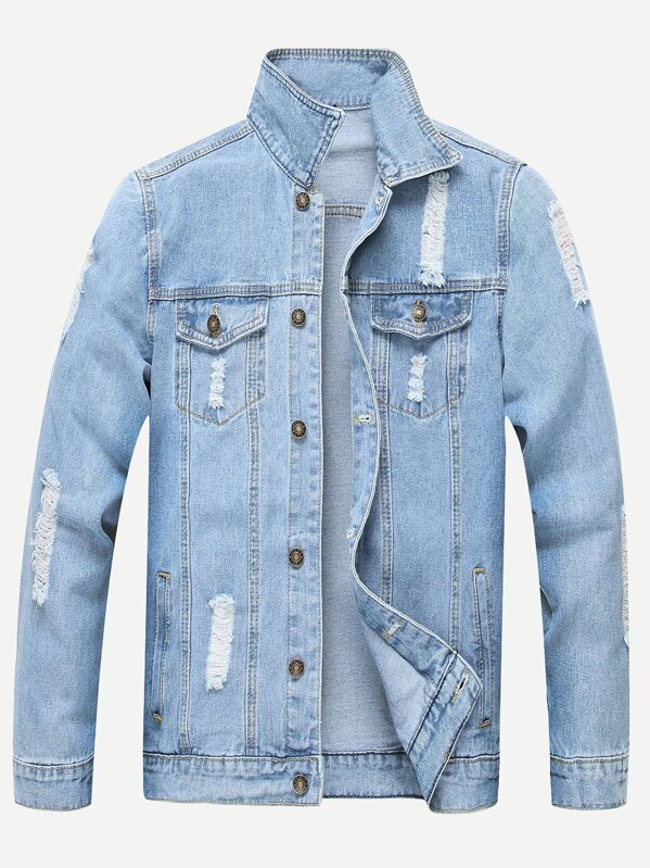 925cd7b9 Men Ripped Solid Denim Jacket | SHEIN UK