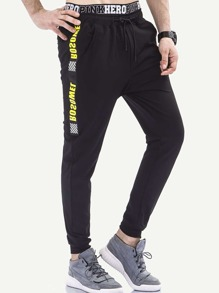 Men Letter Print Side Pants