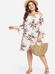 Plus Cold Shoulder Floral Print Dress