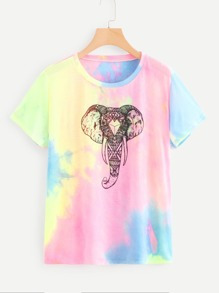 Plus Elephant Print Water Color Tee